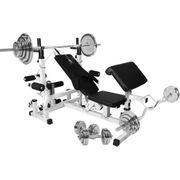 Gorilla Sports - Banc de musculation universel avec support pour haltères et set d´haltères de 105,5kg chromés