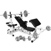 Gorilla Sports - Banc de musculation universel avec support pour haltères et set d´haltères de 105,5kg en fonte avec poignés
