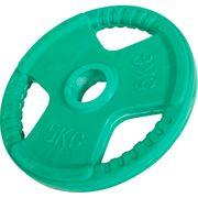 Gorilla Sports - Poids disque 51mm en fonte revêtement caoutchouc de 5kg avec poignée
