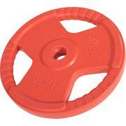 Gorilla Sports - Poids disque 51mm en fonte revêtement caoutchouc de 25kg avec poignée