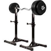 Gorilla Sports - Repose haltères pour haltères longs + Set d'haltéres avec disques en plastiques + barre curl  35 kg