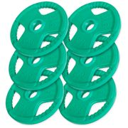 Gorilla Sports - lot de 6 x 5kg (30kg) en caoutchouc grip diamètre olympique de 51mm