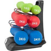Gorilla Sports - 12kg Ergonomique Dumbbell Set (2x1Kg, 2x2Kg und 2x3Kg)