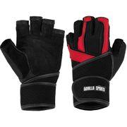 Gorilla Sports Gants d'entrainement + bande de soutien pour articulations NOIR/ROUGE taille S-XL