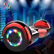 Cool&Fun Hoverboard 6.5 Pouces, Gyropode avec Bluetooth et Pneu à LED de couleur, Overboard Certifé CE, UL, Rouge Chromé