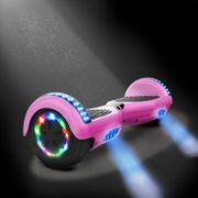 Cool&Fun Hoverboard 6.5 Pouces, Gyropode avec Bluetooth et Pneu à LED de couleur, Overboard Certifé CE, UL, Rose Chromé