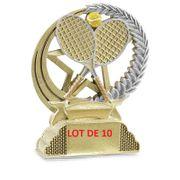 31331 LOT DE 10 TROPHEES RESINE TENNIS 13CM