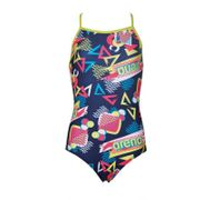 Arena CANDY JR ONE PIECE NAVY-SOFT GREEN - Maillot Fille Natation