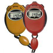 Chronomètre 2 temps - Longue durée avec pile lithium - Coloris jaune/rouge