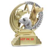 31305 LOT DE 10 TROPHEES RESINE CHASSE 13CM
