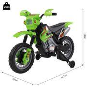 Moto Cross électrique enfants à partir de 3 ans 6 V phares klaxon musiques 102 x 53 x 66 cm vert et noir
