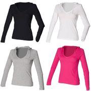 Skinni Fit - T-shirt long léger à capuche et col en V - Femme