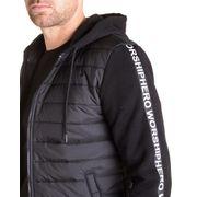 Veste à capuche noir homme imprimé bi matières