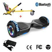 Cool&Fun Hoverboard 6.5 Pouces avec Bluetooth Noir + Hoverkart Hip, Gyropode Overboard Smart Scooter certifié, Pneu à LED de couleur, Kit kart