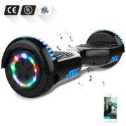 Cool&Fun Hoverboard 6.5 Pouces avec Bluetooth Carbon noir + Hoverkart Hip, Gyropode Overboard Smart Scooter certifié, Pneu à LED de couleur, Kit kart