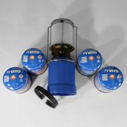 Lampe de camping à gaz Kemper 760 coque ABS - Lampe à gaz avec 4 cartouches de gaz - Lampe de camping pour cartouche gaz 190g