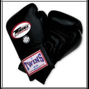 Gants de boxe cuir long TWINS black Taille - 14oz