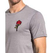Tshirt gris clair brodé d'une rose