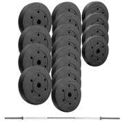 Set d´haltère Trex avec disques revêtement plastique 90 kg et Barre longue 167/2,5 cm