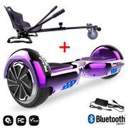 Mega Motion Hoverboard bluetooth 6.5 pouces, M2 Violet chromé + Hoverkart noir, Gyropode Overboard Smart Scooter certifié, Kit kart