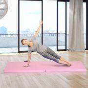 Tapis de gymnastique yoga pilates fitness pliable portable grand confort 180L x 60l x 5H cm simili cuir rose