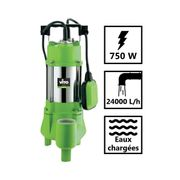 Pompe d'évacuation VITO pour eaux chargées 750W - Vide piscine, eaux de pluie, cave - Câble électrique 6m