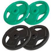 Gorilla Sports - Disques en fonte avec poignées et revêtement caoutchouc- 31mm - De 1,25 KG à 25 KG