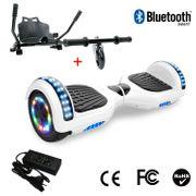 Cool&Fun Hoverboard 6.5 Pouces avec Bluetooth Blanc + Hoverkart Noir, Gyropode Overboard Smart Scooter certifié, Pneu à LED de couleur, Kit kart