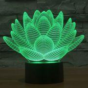 Lumiére décorative-LotusStyle3DTactiledecommandeduCommutateurdeLumièreLED,7DécolorationdelaCouleurCréatifVisuelStéréoLampede