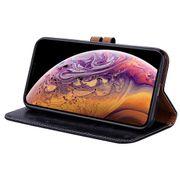 Étui en cuir-Étui à rabat horizontal en cuir de texture cire Style Commerce pour iPhone XS Max, avec support & fentes pour cartes & porte-feuille (Noir)