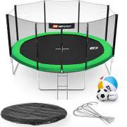 HS Hop-Sport Trampoline rond de jardin 430 cm avec filet extérieur; échelle; bâche de protection (Vert)
