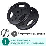 Gorilla Sports - Paire de poids en fonte avec poignées de 30kg (2x15kg) de diamètre 31mm - Noir