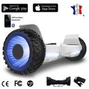 Hoverboard bluetooth tout terrain 8.5 pouces, Gyropode Hummer SUV 4x4 Challenger, Roues Lumineuses à LED, Bluetooth + App de contrôle + Sac de transport, Blanc