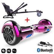 Mega Motion Hoverboard bluetooth 6.5 pouces, M2 Rose chromé + Hoverkart noir, Gyropode Overboard Smart Scooter certifié, Kit kart