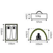 Camp Gear Tente pour 2 personnes Colorado 210x155x115 cm Vert 4471521
