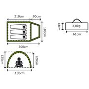 Camp Gear Tente pour 3 personnes Missouri 300x180x125 cm Vert 4471527