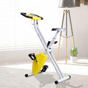 Vélo d'appartement cardio Fitness pliable écran LCD 8 niveaux de résistance selle réglable jaune