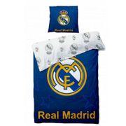 Housse de couette Real Madrid avec 1 Taie d'oreiller Officiel 140x200 cm lit  1 place - unique bleu