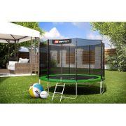HS Hop-Sport Trampoline de jardin rond 305 cm 4 pieds avec filet de sécurité intérieur; échelle; bâche de protection Vert