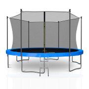 Classique 13Ft / ø400cm  Pack trampoline de jardin avec Filet intérieur, mousse de protection, échelle et tapis de saut - Bleu