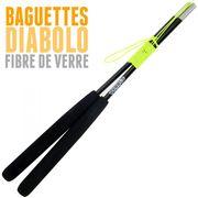 Diabolo Roulement Bleu + Baguettes Pro Noir + Sac + Ficelle Jaune