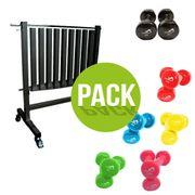 Pack rack + haltères vinyles Leader Fit