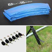 Trampoline de jardin Jupiter XXL 490cm bleu, filet de protection, échelle, bâche, filet chaussures, kit d'ancrage 490 cm 4m