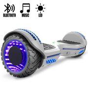 COOL&FUN Hoverboard Gyropode Bluetooth 6.5 pouces, Roues lumineuses à LED de couleur et Bande de LED, Gris