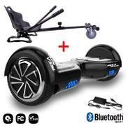 Mega Motion Hoverboard bluetooth 6.5 pouces, M1 Noir + Hoverkart noir, Gyropode Overboard Smart Scooter certifié, Kit kart