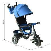 Tricycle enfants évolutif canne  et pare-soleil pliable amovible sacoche et panier 96 x 54l x 101 cm acier bleu