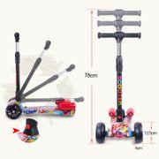 Cool&Fun Trottinette enfants, Patinette 3 Roues Pulvérisation et LED, scooter pliable et réglable hauteur, hip rouge