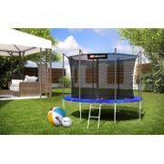 HS Hop-Sport Trampoline ronde de jardin 305 cm/4 pieds avec filet intérieur; échelle; bâche de protection Bleue