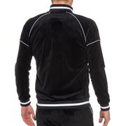 Veste noire zippée velvet à col contrastant