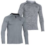 Under Armour Tech Popover Mens Sports Fitness Hoodie Steel / Black - XL